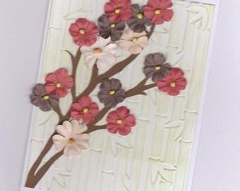 Sakura Warm Shades Greeting Card   Cherry Blossom Greeting Card   Spring Blossom Card