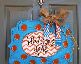 Summer blue and orange burlap door hanger