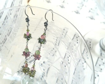 Dangle pendant earrings, rose and green natural Tourmaline, 925 Sterling Silver, flower hook