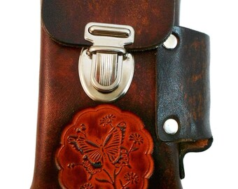 Hand-Crafted Leather Cigarette Case, Many Designs - Roses, Butterfly, Peace, etc