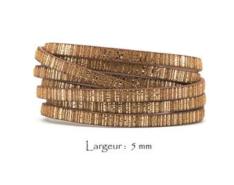1.2 M - cord strap faux leather stripes - width: 5 mm / Ep. : 2 mm - Camel and gold