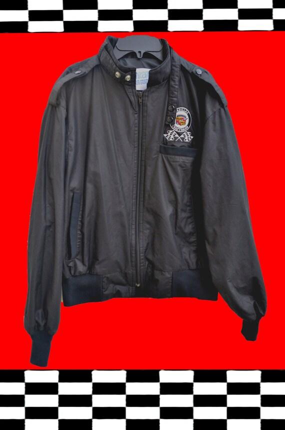 Racing Jacket Vintage cadillac craftsman 80s UPSTREAM cafe racer style retro windbreaker black 80s jacket auto racing lightweight jacket aSjXkBoTj
