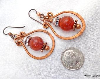 Copper Wire Fire Agate Pearl Earrings