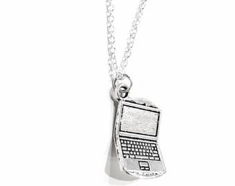 "Silver Laptop Computer Charm Pendant Necklace on .925 Sterling Silver 18"" Chain"