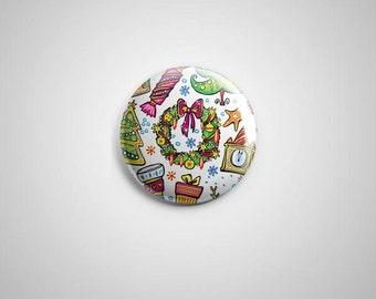 "PCS-PIN-018 - Merry Xmas Pinback button - 1.75""-Perfcase"