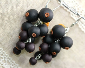 Polymer Clay Black Currant Earrings, Polymer Clay Berry Earrings, Berry Cluster Earrings, Black Polymer Clay earrings.