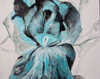 Flower painting on canvas Acrylic painting Large canvas Blue and black 24''x20''
