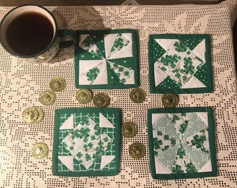 Mug Rug Coaster, St Patrick's Day Mug Coasters, St Patty's Day Mug Rugs, Quilted Coasters, Quilted Mug Rugs