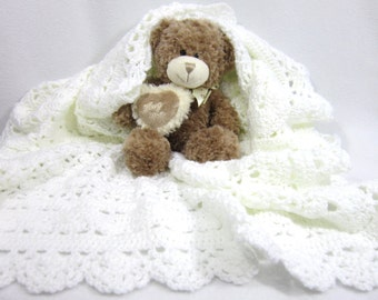 White Baby Afghan, Christening Blanket, Lacey Dedication Afghan, Shower Gift for New Mom, Crochet for Precious Little Ones, New Baby