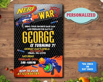 Nerf Gun Invitation / Nerf Gun Birthday / Nerf Gun Party / Nerf Gun Invitations/Nerf Gun Printable Invitations/Nerf Gun Birthday InviteF1236