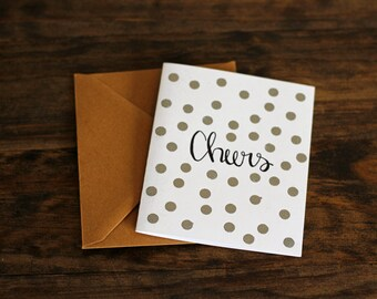 Cheers Silver Dots Greeting Card, Set of 10, New Baby Card, Anniversary Card, Celebration Notes, Graduation Card, Cheers Card, Paper Card