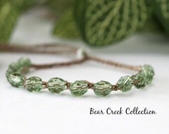 Stacking Bracelet, Sheer Green, Adjustable, Bead Bracelet, Boho Style, Bohemian, Crochet Jewelry, Bead and Cord Layering Bracelet