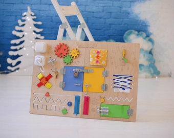 Busy board, Gift for Toddler, Toy for Toddler, Sensory Children Game, Activity Toy, Montessori Toy, Wooden Toy