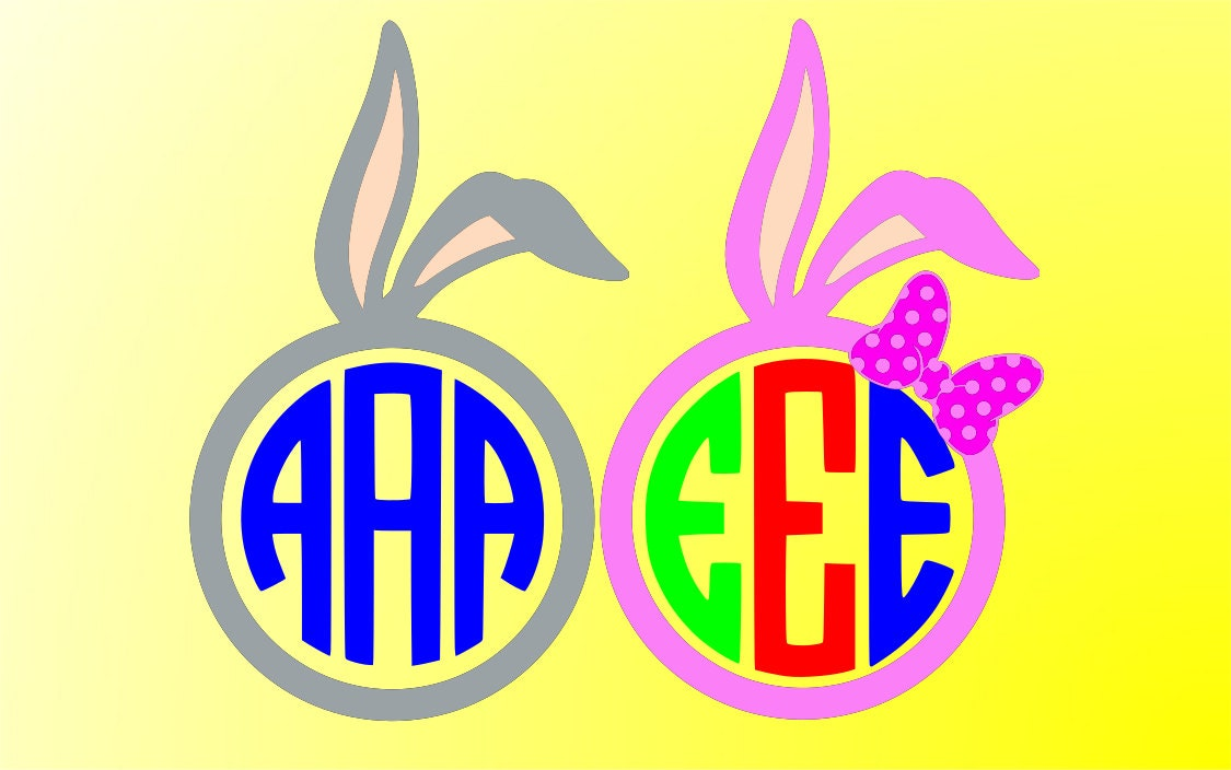 bunny ears monogram SVG Clipart Cut Files Silhouette Cameo