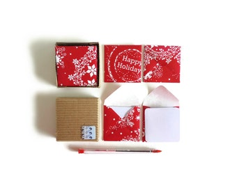 Merry Christmas Mini Stationery Set - Small Square Red Envelopes, Blank Note Cards, White, Happy Holidays, Greetings, Tags, Gifts Under 15