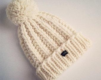 HoBo Handmade 'Lofty' Bobble Hat. Thick chunky hand knitted beanie. Large removable pom pom. Winter white cream ecru wool blend Medium/Large
