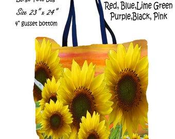 Sunflower garden floral art double sided art printed beach bag from my artwork.