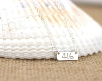 Tiny initial bar necklace - minimalist monogram, small bar necklace, small personalized bar, area code necklace