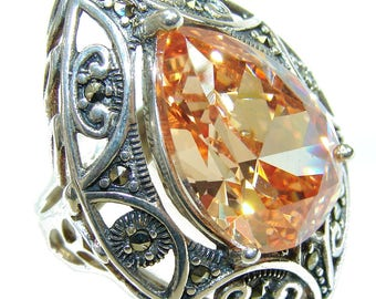 Golden Topaz Quartz, Marcasite Sterling Silver Ring - weight 11.90g - Size 6 1 2 - dim L -1 3 8, W -1 1 8, T -1 2 inch - code 15-sty-16-11