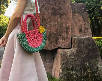 Free Shipping,Hand-plaited Straw Watermelon Shoulder Bag,Straw Plaited Bag,Straw Braided Bag,Straw-weaved watermelon Bag,Fruit  Bag