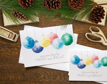 Merry and Bright Stationery - set of 6 folded cards + envelopes