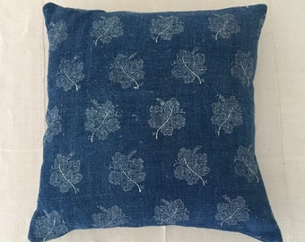 Blue Indigo Hungarian Linen Cushion COVER ONLY hand blocked Grapeleaf hand dyed vintage Grain Sack Fabric