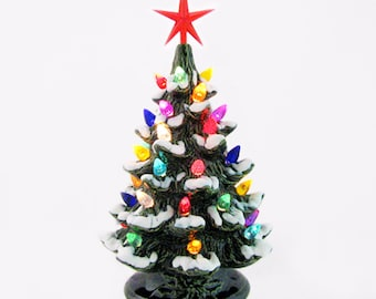 Happy Holidays Ceramic Christmas Tree with Snow 8 1/2 Inches Tall Color Lights Choose Color of Star Made in the USA
