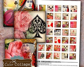 Vintage Playing Card, Collage Sheet, 1x1 Inch Squares, Playing Card Images, 1x1 Collage Sheet, Printable Squares, Printable Ephemera