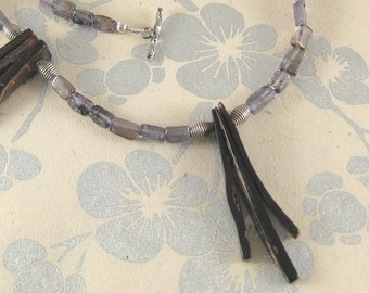 Tiki - shell, iolite, .99 silver necklace