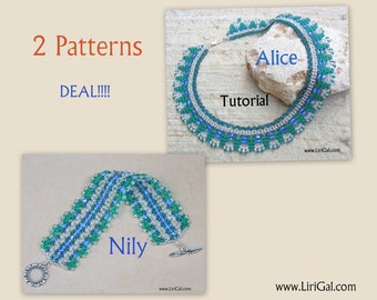 2 patterns deal.Alice and Nily SuperDuo Beadwork Necklace and bracelet  PDF Tutorials