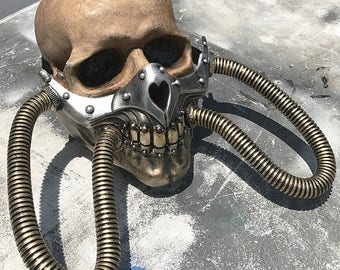 Steampunk Mask - Gold and Silver MAD MAX Fury Road 'Imperator Joe' Post-Apocalyptic Industrial Mask with Tubes and Spikes - Burning Man Mask