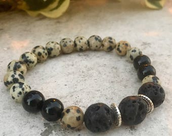 Dalmation Jasper, Black Tourmaline Gemstone And Lava Diffuser Bracelet, Aromatherapy Jewelry, Chakra jewelry, Healing Properties, Natural