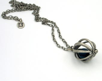 Long necklace with metal cage,  plated silver necklace, Long vintage necklace