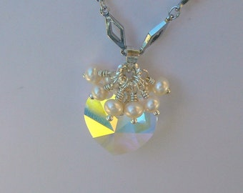 Swarovski Crystal Hearl Surrounded By Freshwater Pearls, Necklace