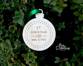 """Mrs and Mrs Ornament, 2.5""""   Christmas - Mrs and Mrs Gifts - Holiday Decor - Gift for the Couple - Wood Ornament - Lesbian Wedding"""