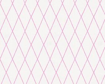 Hot Pink Princess Lattice Organic Fabric - By The Yard - Girl / Modern