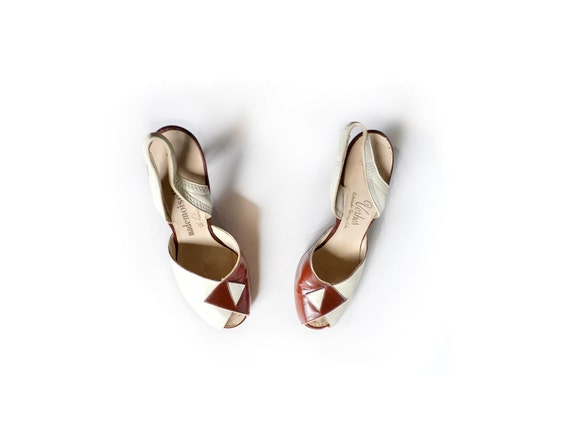 Accessories Shoes 40s Pump Vintage Shoes 40s shoes Women Brown 6 Heels Heel Pump Peeptoe Shoes Shoes Shoe 1940s UdR7q7