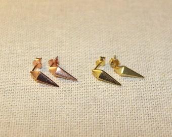 Matte Gold Rose Gold Spike Stud Earrings Geometric shapes