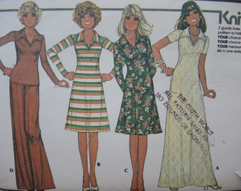 vintage 1970s McCalls sewing pattern 4698 misses dress or top skirt and pants size 12