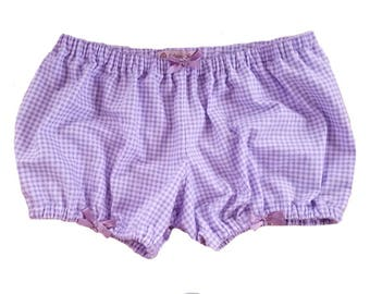 JULY PREORDER Lolita Bloomers purple flannel gingham shorts cotton underwear lingerie drawers pajamas nightwear sleepwear cute