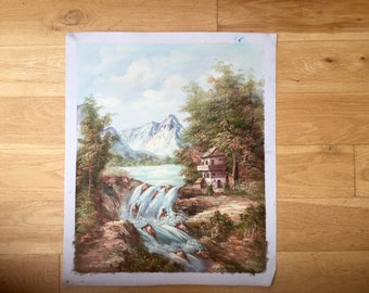 Large 1980s Waterfall Landscape Painting With a Mountain Original Art Wall Hanging Home Decor