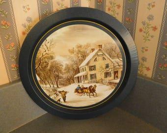 "Vintage Tin Tray with Winter Scene 9"" in Diameter"