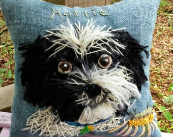 Your Dog Free hand Embroidered on Pillow in Wool Yarn YelliKelli