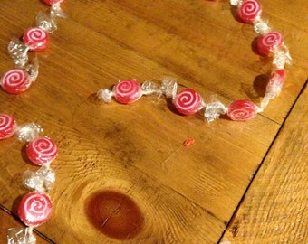 Vintage Christmas peppermint Candy Garland 8 feet blow mold with cellophane wrappers