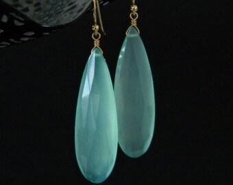 Long Faceted Aqua Blue Chalcedony Teardrop Earrings