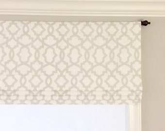Faux (fake) flat roman shade valance.  Custom Sizing.  Premier Prints Sheffield Miller Grapevine Gray.