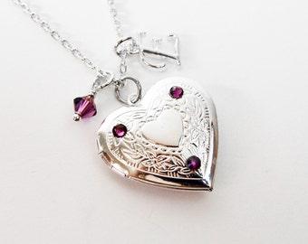 Amethyst Locket, February Birthstone Crystal Locket Necklace, Personalized Initial Necklace, Silver Heart Locket