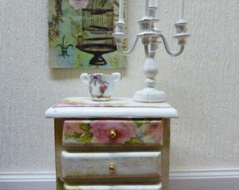 "Dresser nightstand Miniature - style ""Shabby Chic"" - 1/12 scale - accessory of doll Miniature home decor"