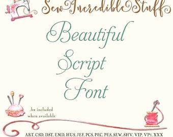 Beautiful Aphrodite Script Machine Embroidery Font