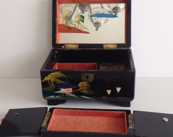 Beautiful Hand Painted Asian Music Box / Vintage Wooden Jewelry Box with Painted Mirror on the Interior